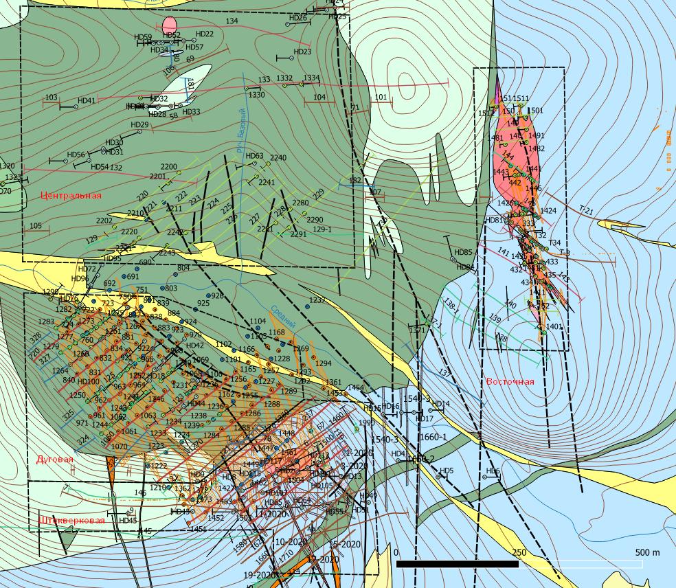 Фрагмент геологической карты месторождения Болотистое