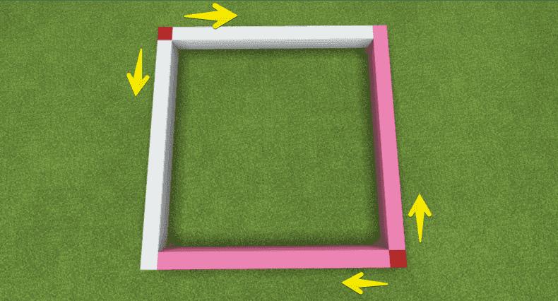 赤いブロックを上下左右に伸ばしている