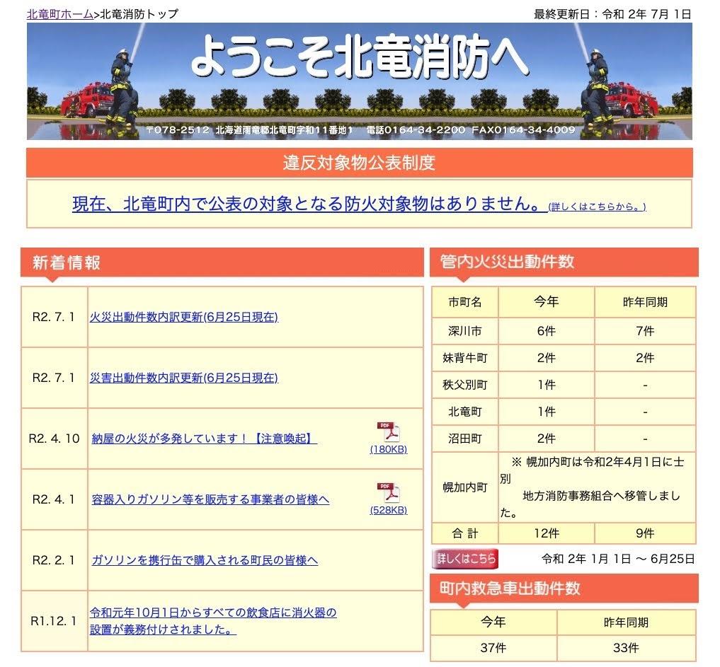 2020年6月:火災・災害出動件数内訳更新【北竜消防】