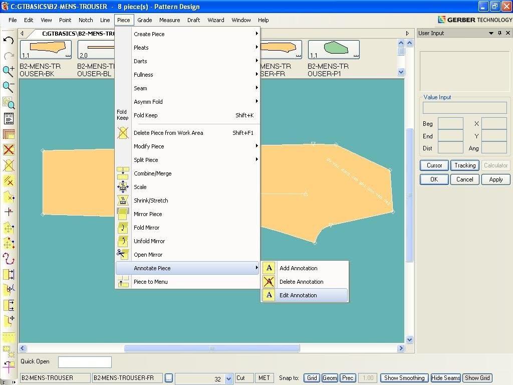 Tạo Ghi Chú Lên Chi Tiết Rập Trong Gerber Pattern Design 4