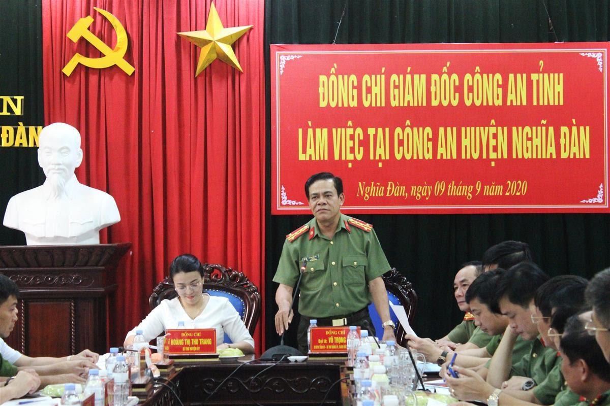 Đồng chí Đại tá Võ Trọng Hải - Ủy viên Ban Thường vụ Tỉnh ủy, Bí thư Đảng ủy, Giám đốc Công an tỉnh phát biểu chỉ đạo tại buổi làm việc.