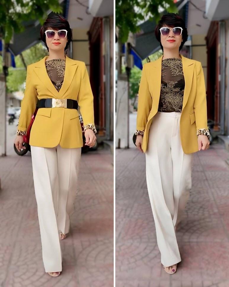 Áo vest nữ công sở màu vàng mix quần ống suông V741 thời trang thủy hải phòng 2