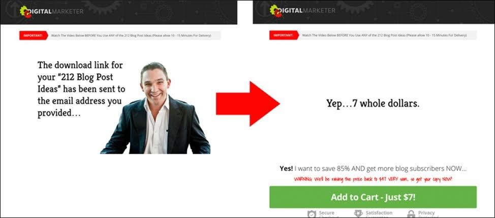 No call to action is displayed (image left) until the sales arguments have been made --- at which point the buy button is