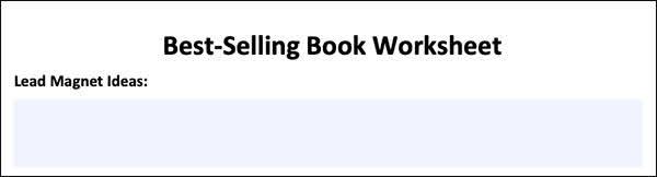 Best-Selling Book Worksheet