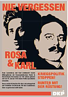 Plakat: Karl & Rosa «Nie vergessen ...».