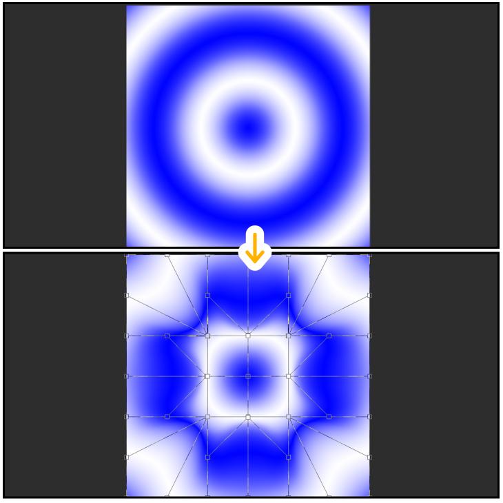 クリスタのグラデーションをメッシュ変形