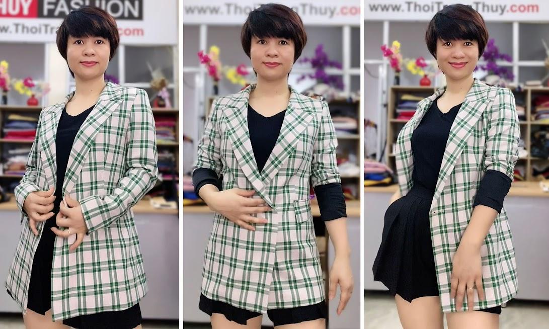Chú ý lựa chọn áo vest nữ kẻ caro V736 thời trang thủy