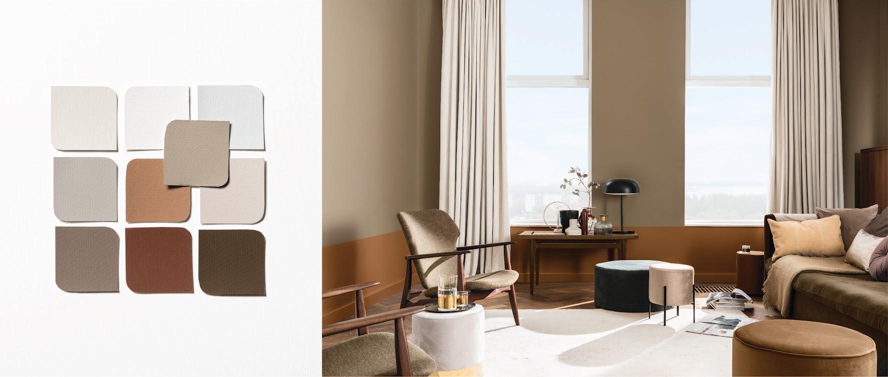 Bảng màu Tin cậy ứng dụng vào một không gian phòng khách, nơi gia đình có thể sum vầy hoặc trò chuyện với những người khách quý. Nâu Quả Cảm đã thể hiện vai trò kết nối tuyệt vời, mang lại cảm xúc tin cậy.