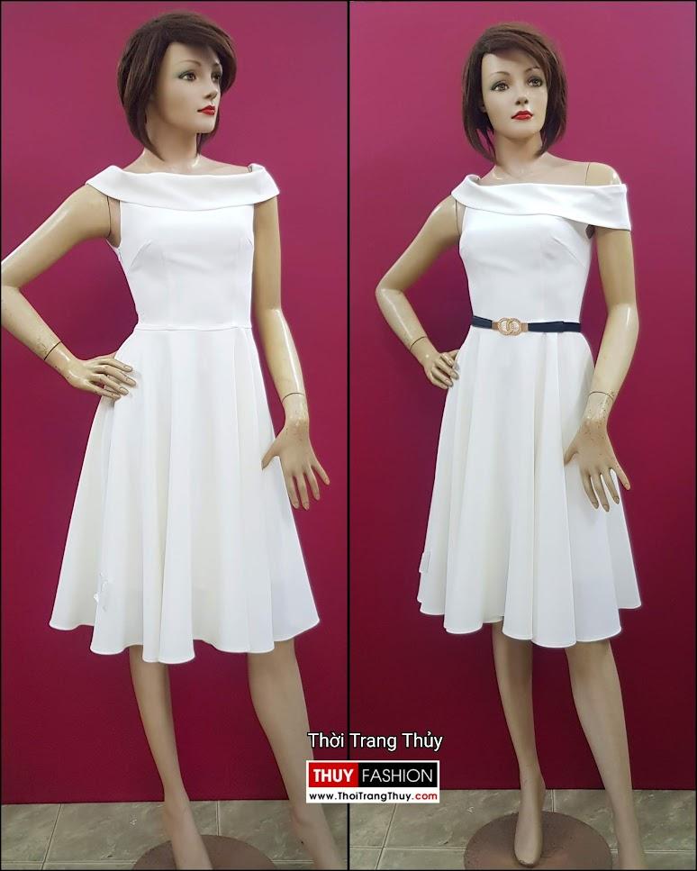 Váy xòe dự tiệc hở vai màu trắng V706 thời trang thủy sài gòn