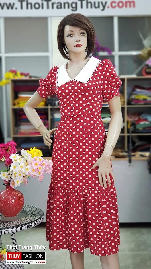 Váy xòe midi dáng dài qua gối vải lụa chấm bi V707 thời trang thủy đà nẵng