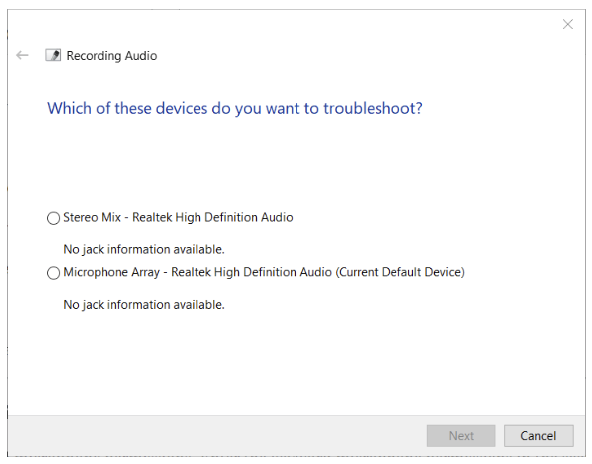 Select the microphone you like to run the recording audio troubleshooter