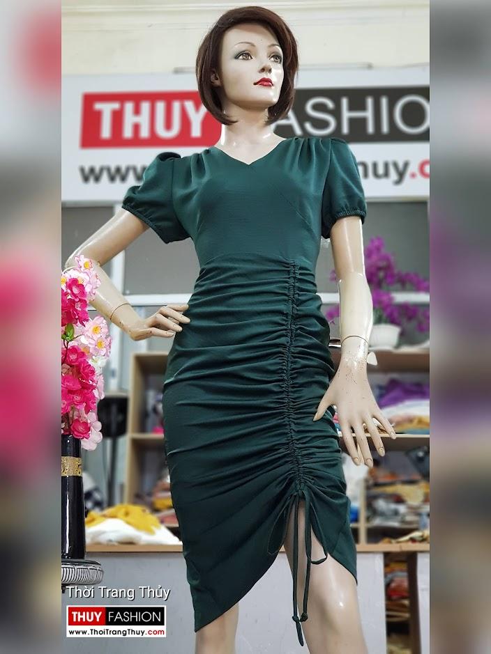Váy dự tiệc dáng ôm body xếp nhún V721 thời trang thủy quảng ninh