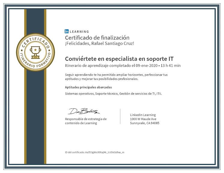 Santiago Cruz Rafael especialista en soporte IT