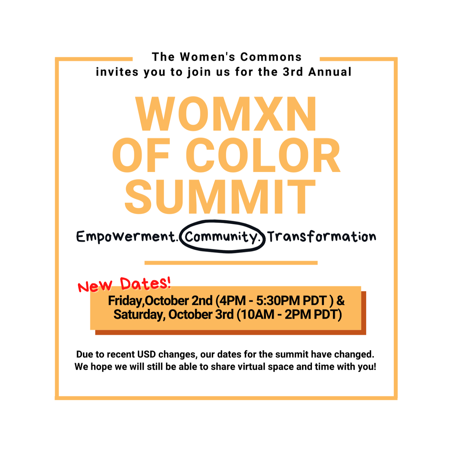 Womxn of Color Summit Flyer, September 18 and 19, registration open