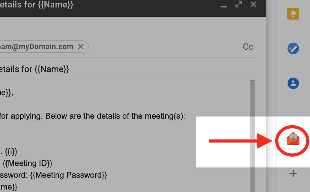 GmailサイドパネルのGroup Mergeアイコン