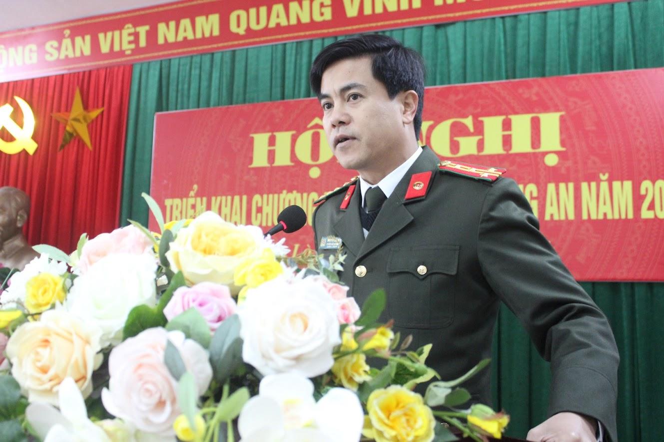 Đồng chí Đại tá Nguyễn Đức Hải - Phó Giám đốc Công an tỉnh phát biểu chỉ đạo Hội nghị
