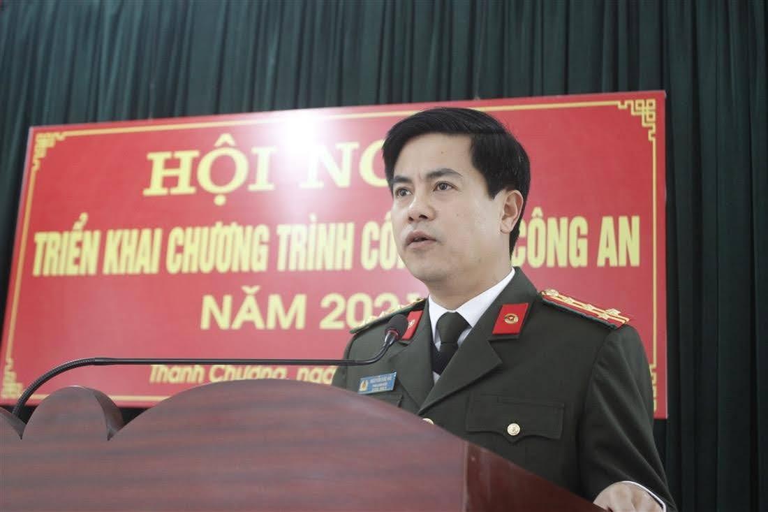Đồng chí Đại tá Nguyễn Đức Hải, Phó Giám đốc Công an tỉnh phát biểu