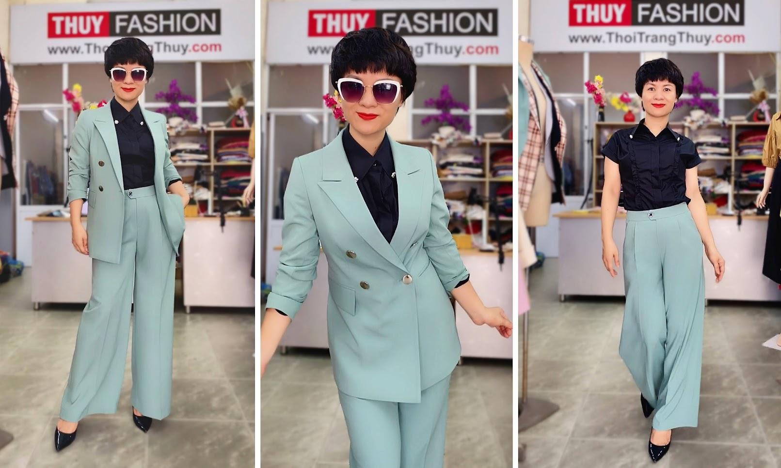 Áo vest nữ mix đồ quần ống suông màu xanh V726 thời trang thủy