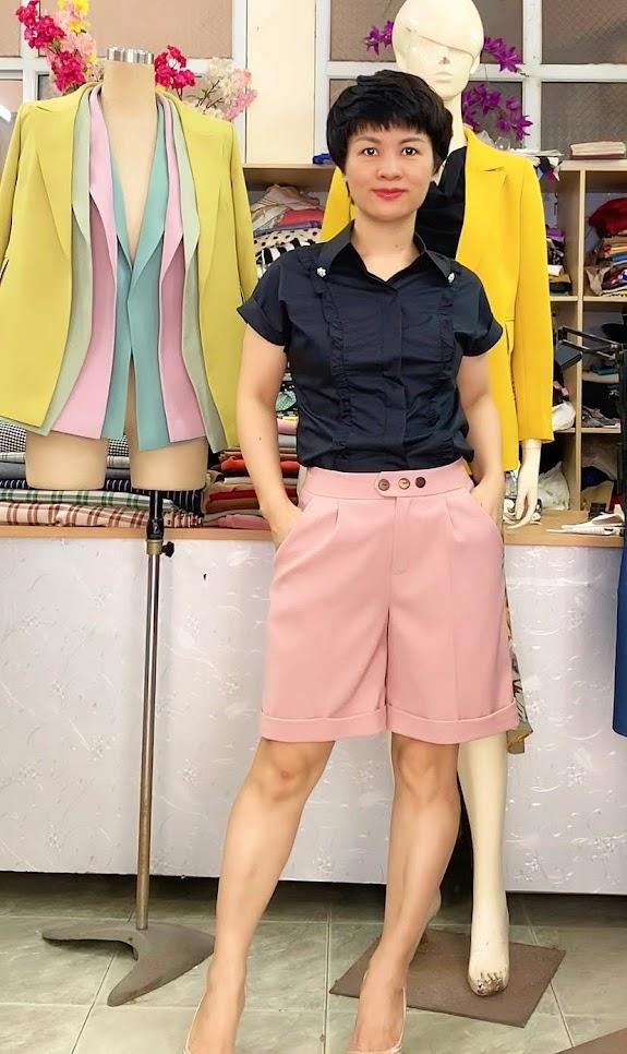 áo sơ mi nữ mix đồ quần short ngắn V731 thời trang thủy hải phòng