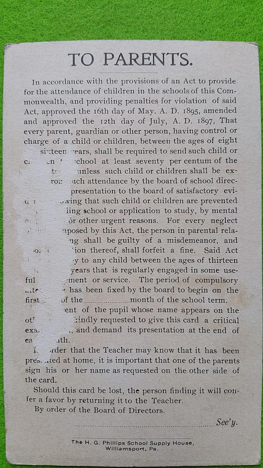 Notenbericht 1900/1901