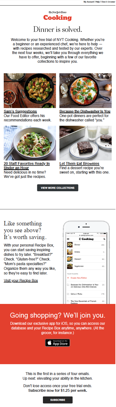 This welcome message from New York Times Cooking is a great example of a welcome message.