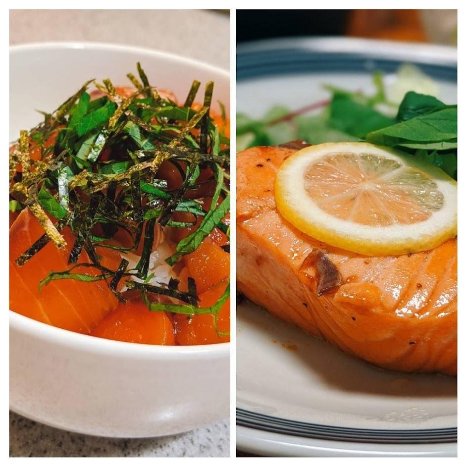 左にエンペラーサーモンの漬け丼、右にレアステーキの画像