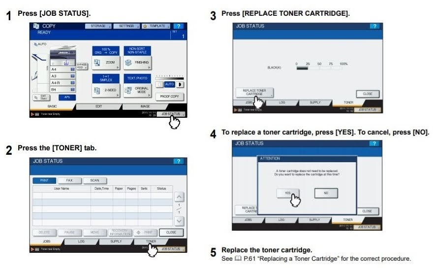 Quy trình thay thế hộp mực Toshiba The e-STUDIO2018A/2518A/3018A/3518A/4518A/5018A series