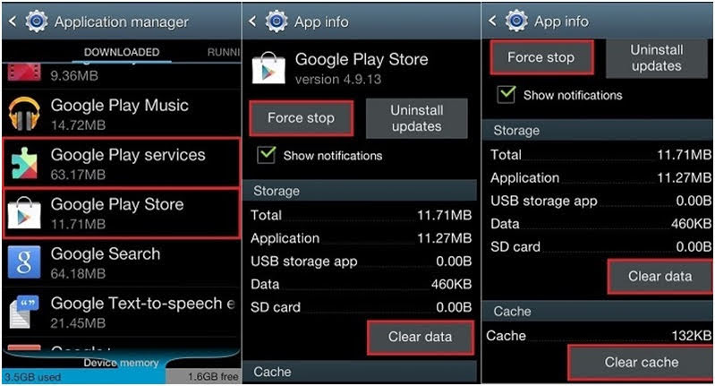 Select Force Stop, then click on Clear Data and Clear Cache.