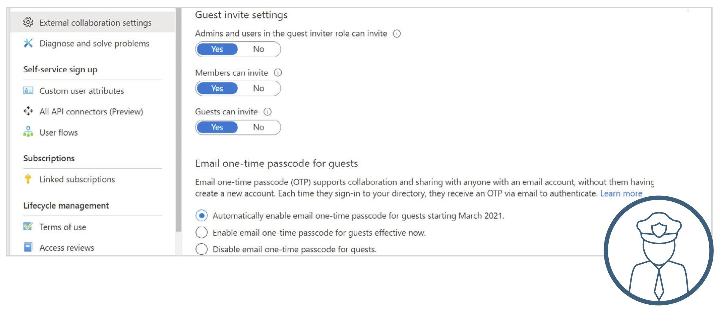 Guest invite settings and email one-time passcode for guests