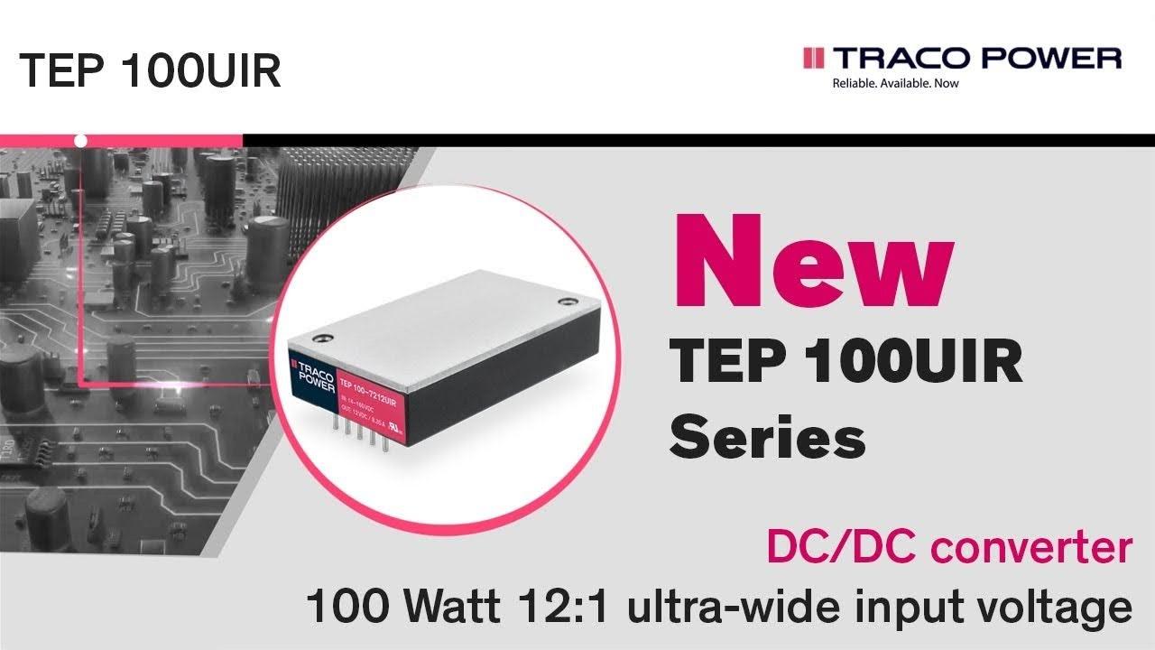 TEP 100UIR Series 100 Watt Railway/Industrial DC-DC Converter With 12:1 Input Range
