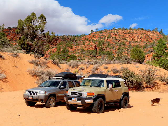 Mine and Tom's rigs parked near Rosy Canyon