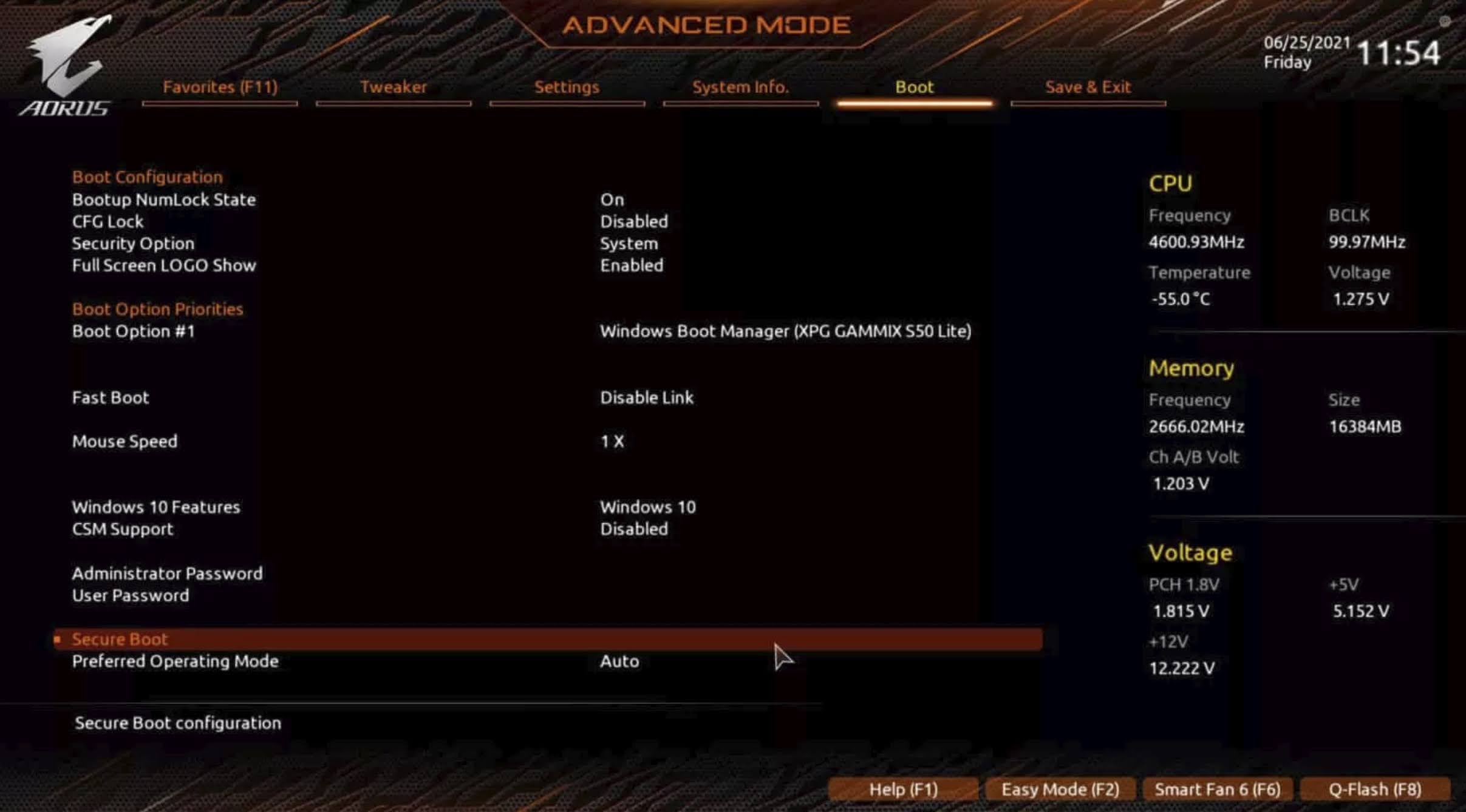Enable TPM 2.0 for GIGABYTE motherboard using AORUS: Navigate to the Boot tab and double-click on the Secure Boot option.