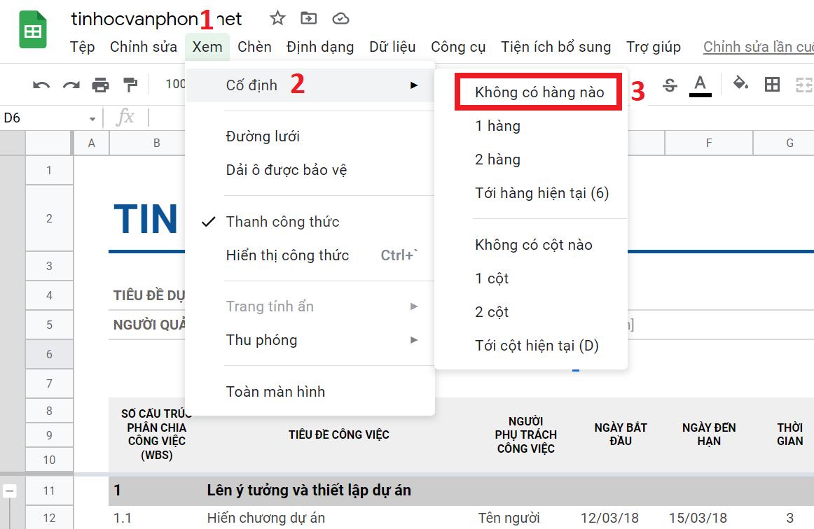 hướng dẫn bỏ cố định hàng trong google sheets