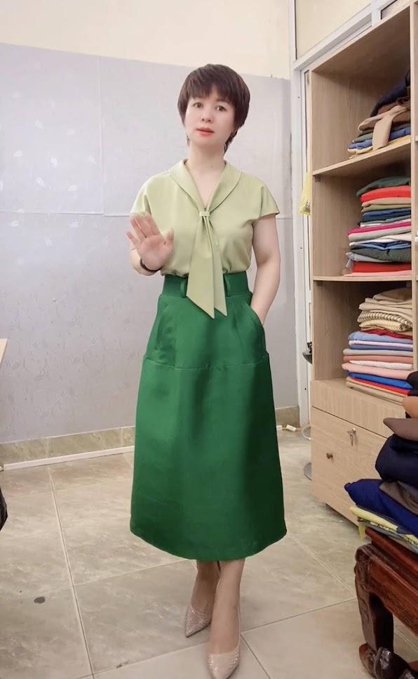 áo sơ mi nữ tay hếch và chân váy xòe vải taffta thời trang thủy ninh bình