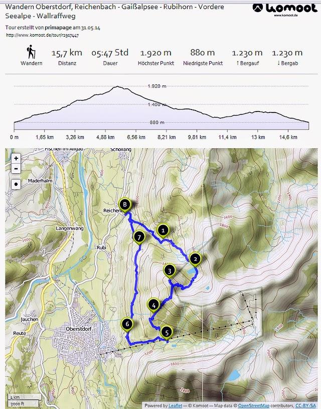 Route Map Karte Reichenbach Gaisalpe Rubihorn Vordere Seealpe Wallrafweg Oberstdorf Allgäu