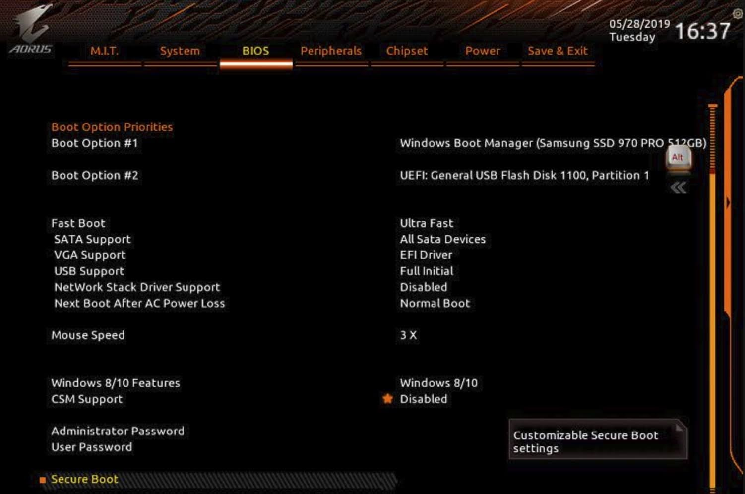 Enable TPM 2.0 for GIGABYTE motherboard using AORUS: Navigate to the BIOS tab, click the CSM Support option and change it to Disabled.