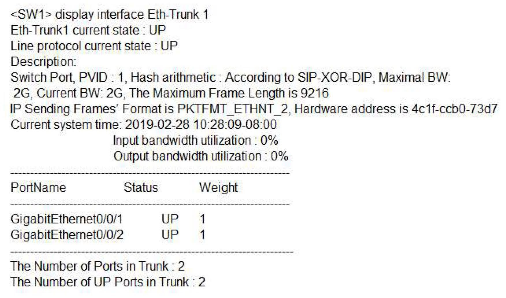 The following shows the Eth-Trunk information on a switch.