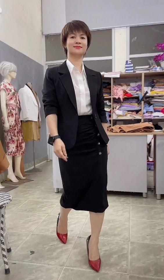 áo vest nữ 1 lớp chân váy bút chì công sở mặc đẹp thời trang thủy nam định