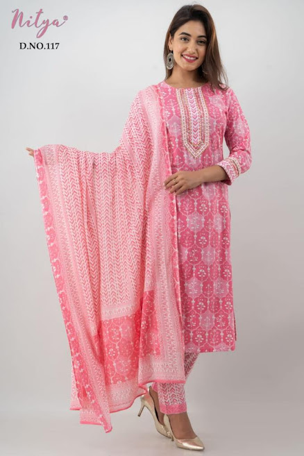 Design No 117 And 118 Lt Nitya Size Set Readymade Pant Style Dress Manufacturer Wholesaler