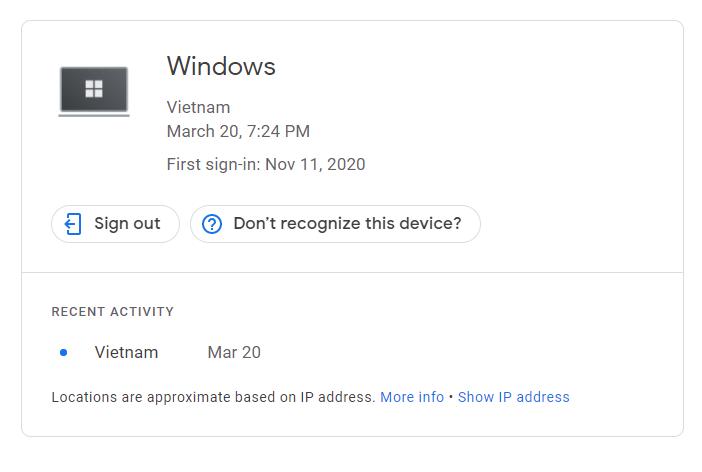 đăng xuất gmail khỏi các thiết bị khác