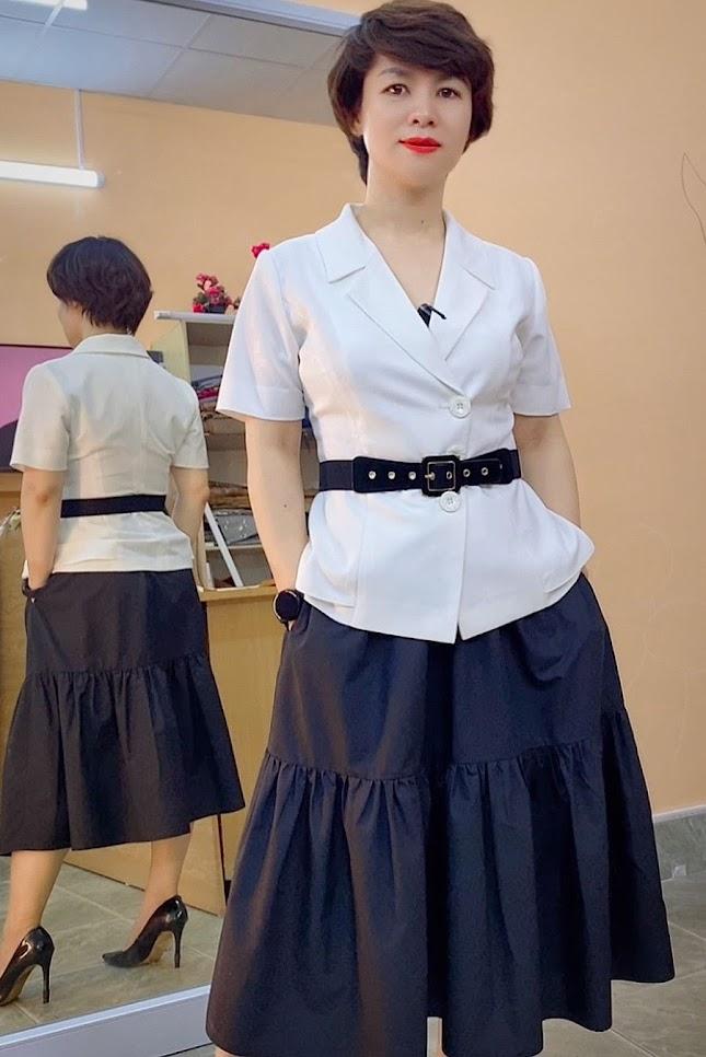 áo peplum che bụng phối đồ công sở chân váy xòe midi mặc đẹp thời trang thủy hải phòng