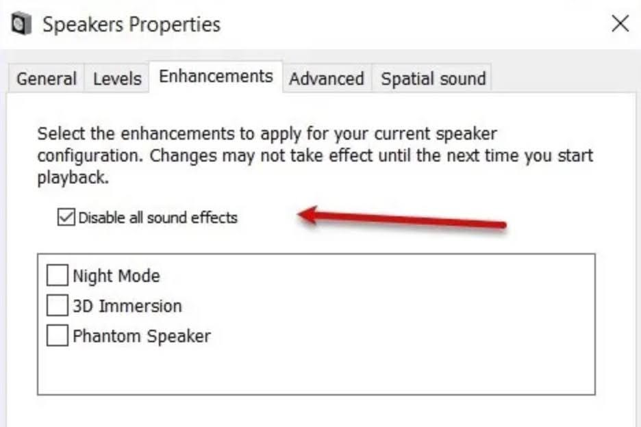 Check the Disable all sound effects check box.