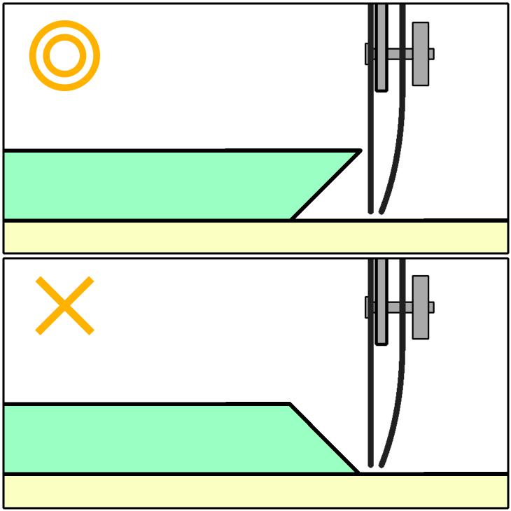 烏口で線を引く時の定規の向き