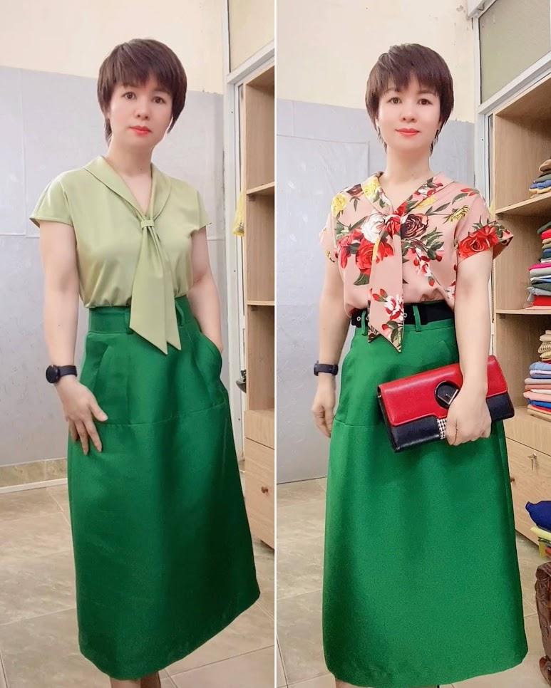 áo sơ mi nữ tay hếch và chân váy xòe vải taffta thời trang thủy hải phòng 1