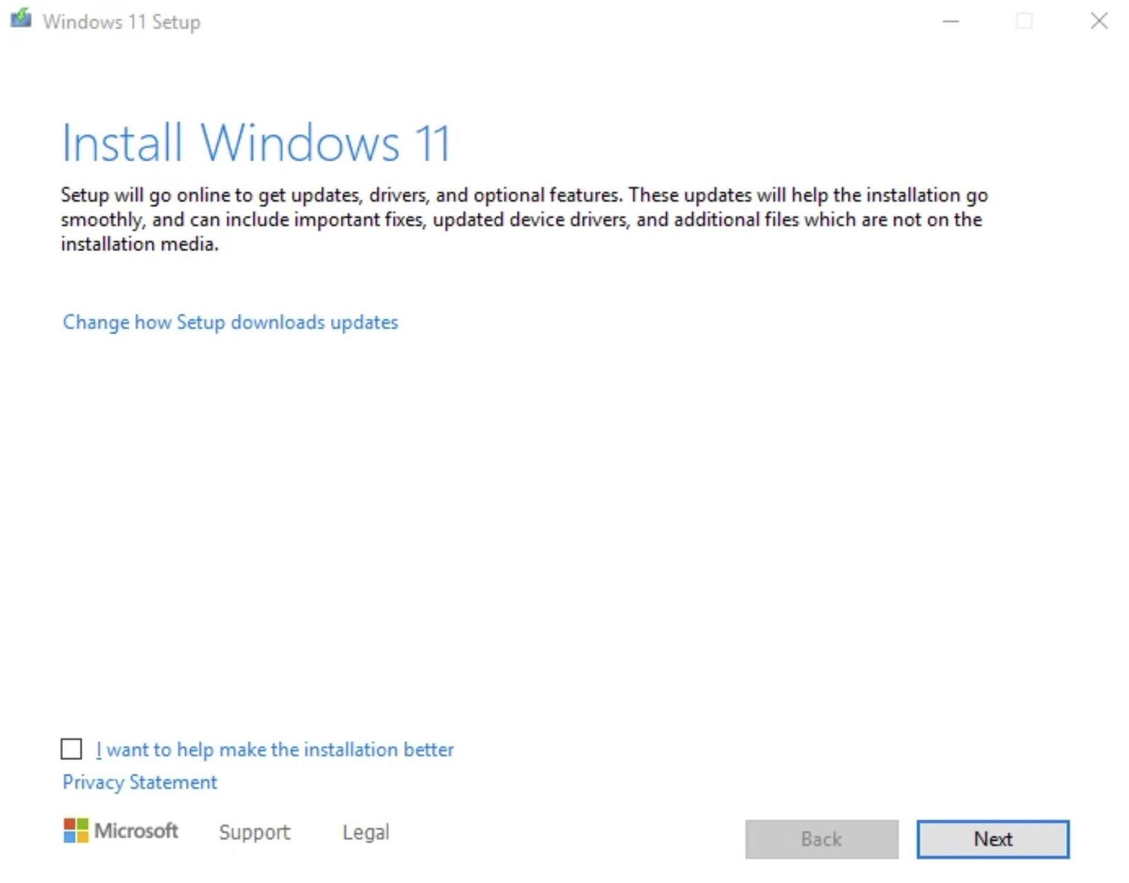 The Windows 11 Setup wizard will display.