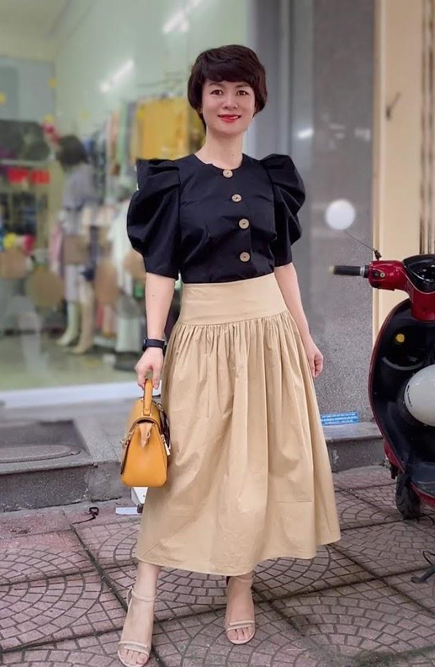 áo croptop nữ tay bống phối đồ chân váy xòe midi thời trang thủy hải phòng
