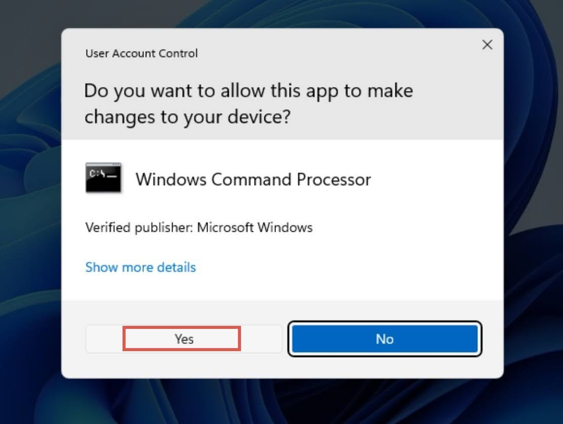 The User Account Control (UAC) window will prompt. Click Yes to run the Windows Command Prompt as Administrator.