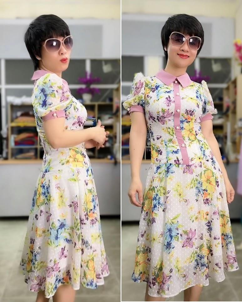váy xòe midi công sở nữ mặc đẹp thời trang thủy hải phòng 2021