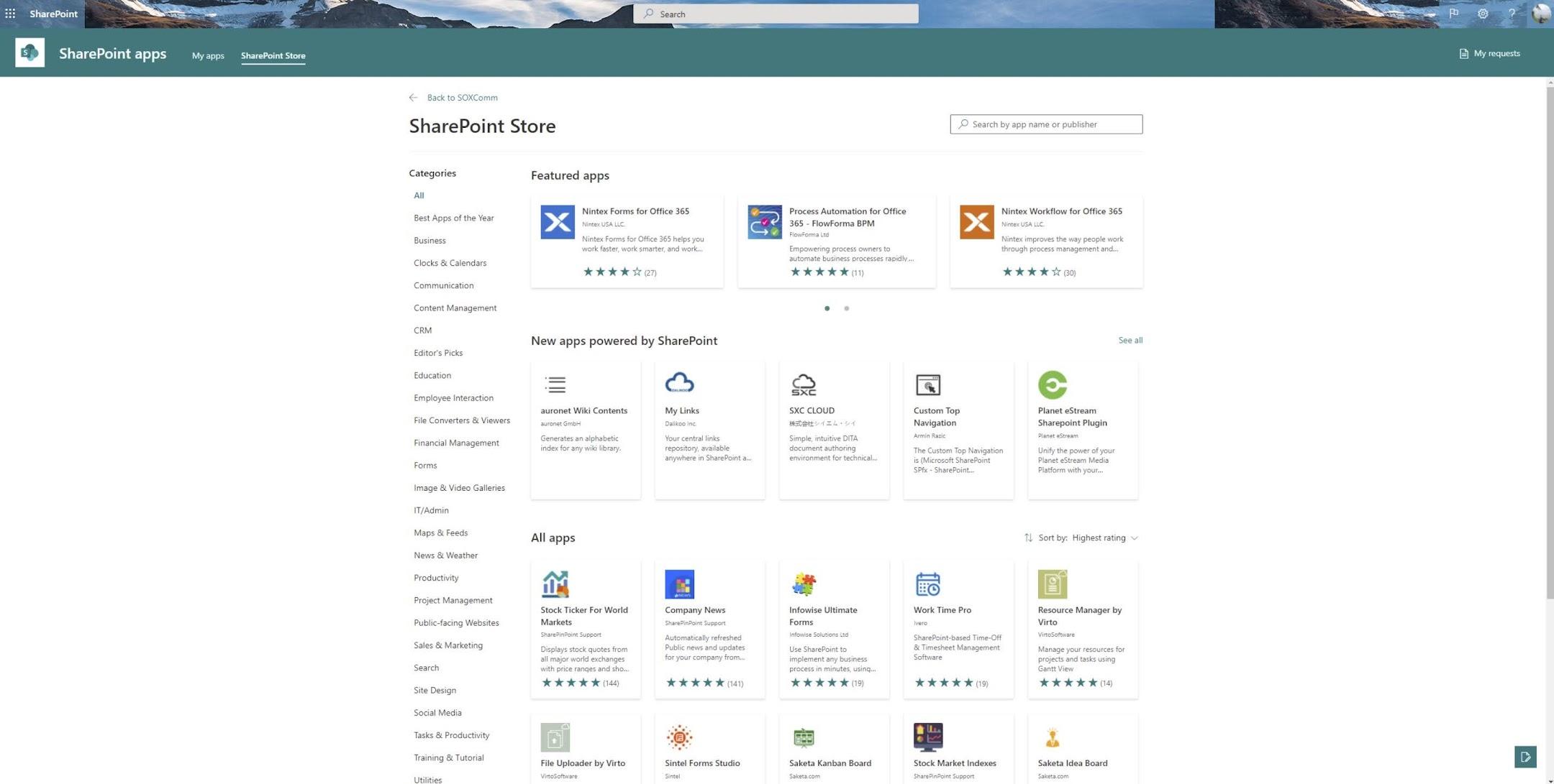 SharePoint Store Homepage