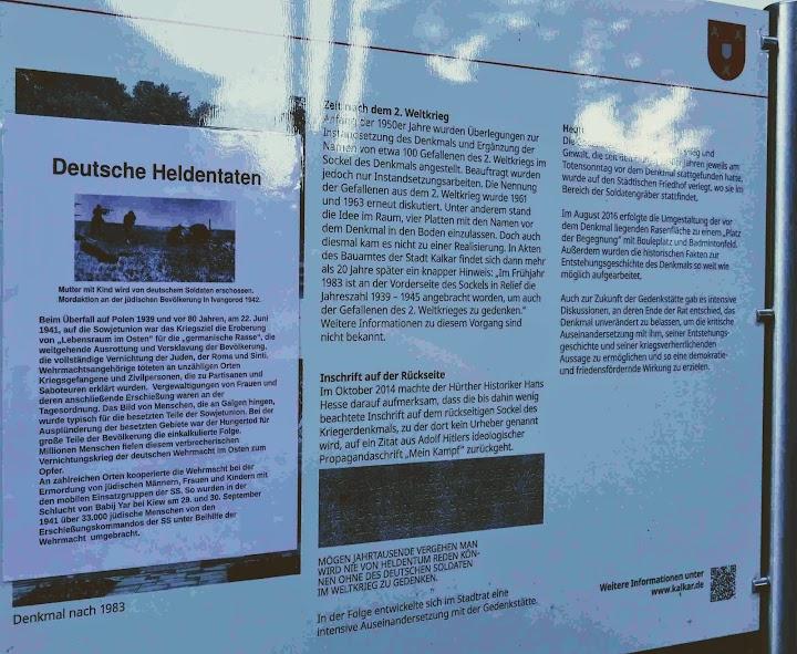 Infotafel am Kriegerdenkmal umgestaltet von Wilfried Porwol mit Hinweis auf «Deutsche Heldentaten».